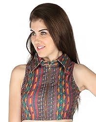 Vinegar Printed Multicolor Party Wear Crop Top for Women _ C0328_XS