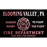 qy64702-r FIRE DEPT BLOOMING VALLEY , PA PENNSYLVANIA Firefighter Neon Sign Enseigne Lumineuse