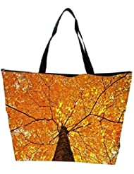 Snoogg Yellow Leaf Tree Designer Waterproof Bag Made Of High Strength Nylon