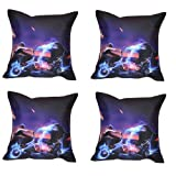 MeSleep Digital Print Bike And Car 4 Piece Cushion Cover Set - Purple
