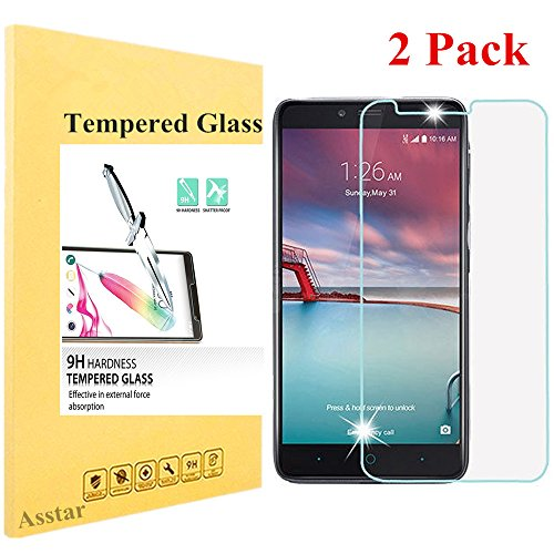 Asstar ZTE Zmax Pro, ZTE Carry Z981 Tempered Glass Screen Protector 99.9% Ultra Clear HD Clarity 9H Hardness 2.5D Bubble Free Anti-Scratch for ZTE ZMAX Pro / Carry Z981- No Full Coverage (2 Pack) (Gorilla Box Fan compare prices)