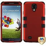 MyBat SAMSIVHPCTUFFSO006NP Titanium Rugged Hybrid TUFF Case for Samsung Galaxy S4 - Retail Packaging - Red/Black