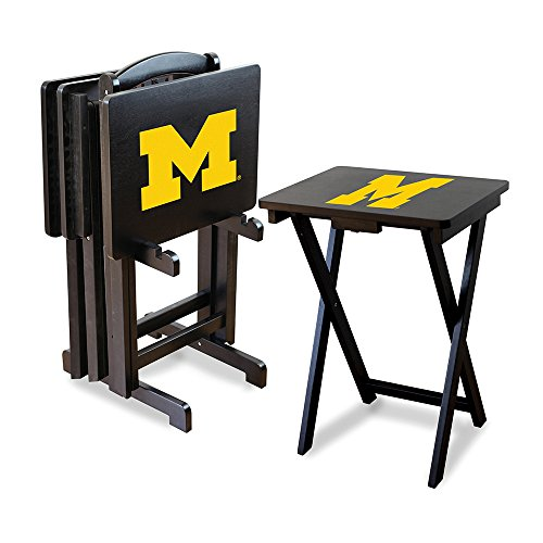 Ncaa Michigan Wolverines Tv Snack Trays With Storage Rack (Set Of 4)