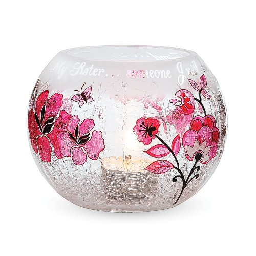 Mark My Words 5-Inch Round Hurricane Crackled Glass Candle Holder, Sister Sentiment
