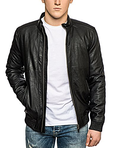 Only & Sons - Giacca da motociclista in pelle con zip - Bomber giacche - Uomo Black X-Large
