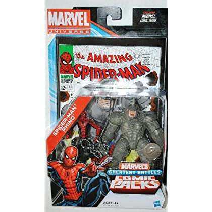 SPIDER MAN & THE RHINO : Marvel Universe GREATEST BATTLES 2 x 4″ figure pack with comic günstig kaufen