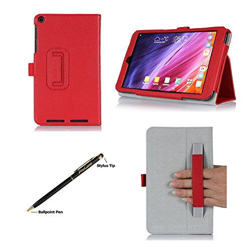 Procase Asus Memo Pad 8 (Me181C) Case With Bonus Stylus Pen - Bi-Fold Stand Cover Case Exclusive For 2014 Version Asus Memo Pad 8 Inch Tablet (Me181C), With Hand Strap, Auto Sleep/Wake (Red)