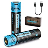18650 Battery, ElecStack 3400mAh Micro USB Rechargeable Battery for High Drain Devices, with High Performance Protected Circuit(2pcs Li-ion Battery+Protective Battery Case+Micro USB Cable)