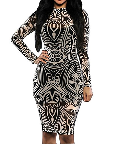 Womens Sexy Vintage Tribal Tattoo Print Cocktail Party Pencil Dress Small Black (Tribal Print Tattoos)