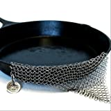 The Ringer - The Worlds #1 Cast Iron Cleaner | XL 8x6in Stainless Steel Chainmail | Remove Grit, Save Flavor GURANTEED! Treasured by CI Chefs as a scrubber & scraper for a pan, skillet, griddle, dutch oven, pot, cookware set, waffle maker, or wok