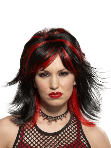 Black Red Goth Wig Punk Rocker Gothic Theatre Costumes Wig