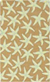 9' x 12' Starfish Delight Taupe and Off-White Hand Hooked Outdoor Patio Area Throw Rug
