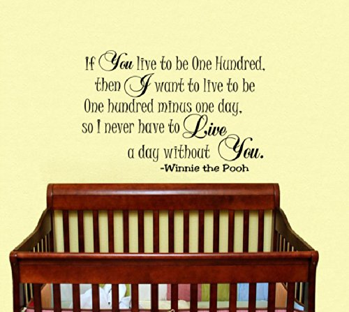 Housewares Vinyl Decal Winnie The Pooh Quote If You Live To Be One Hundred, Then I Want To Live To Be One Hundred Minus One Day So I Never Have To Live A Day Without You. Wall Decor Removable Stylish Sticker Mural Unique Design For Baby Kid Nursery front-1017093