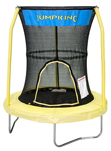 JumpKing-Bazoongi-Trampoline-with-3-Poles-Enclosure-System-55-Yellow