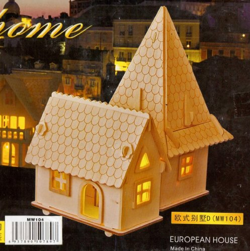 WITH LIGHTING KIT LARGE SIZE 3-D Wooden Puzzle- EUROPEAN HOUSE Model Woodcraft Construction Kit Toy