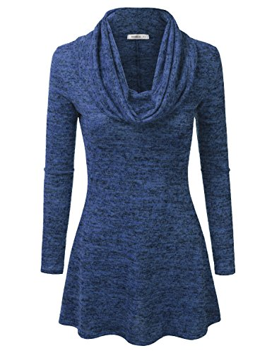 Doublju Womens Long Sleeve Cowl Neck A-Line Tunic Sweater Dress (Made In USA) ROYAL LARGE