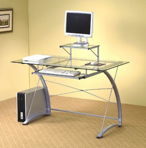 Buy Low Price Comfortable Modern Casual Style Metal & Glass Home Office Computer Desk (B001HFB6PU)