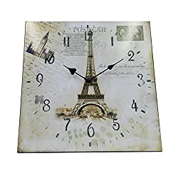 Hippih Silent Round Wall Clocks (12 Inches) Living Room Decorative Vintage / Country / French Style Wooden Clock(Square Eiffel)