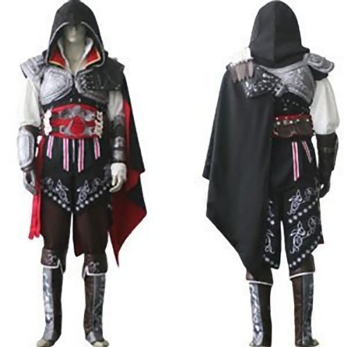 Assassin's Creed 2 II Ezio Cosplay Kostüm Halloween , Schwarz Version,Größe XXL:(183-187cm,80-90 kg)