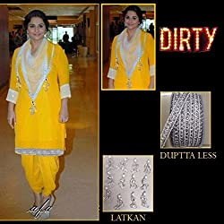 JJR Store Designer Yellow Georgette Embroidered Dress material