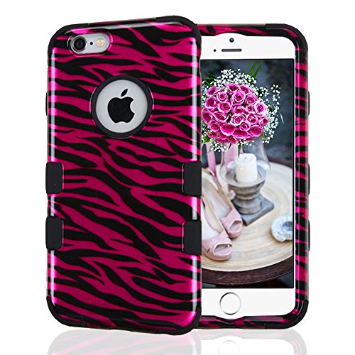 iPhone 6 Case, iPhone 6S Case, JoJoGoldStar Dual Layer Hybrid, Slim Fit Heavy Duty Plastic and Silicone TPU Hard Cover with Stylus and Screen Protector - Hot Pink Zebra Stripes (Cute Animal Pics compare prices)