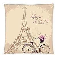 "AKF Custom Eiffel Tower Cushion Pillowcase Covers 18""x18"" Twin Sides from AKF Shop"