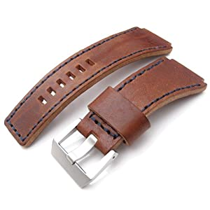 MiLTAT Hand Stitch Bell & Ross BR01 Orange Calfskin Watch Strap, Buckle included