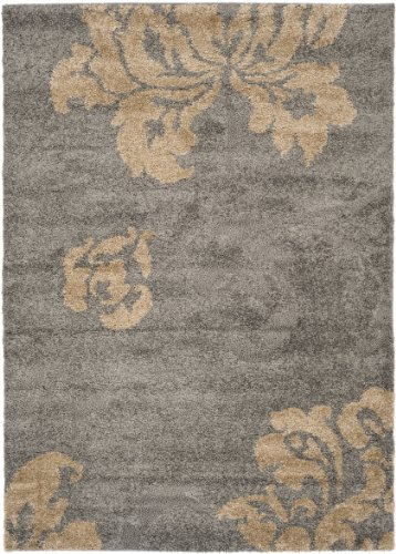 safavieh florida shag collection sg458 8013 grey and beige shag area rug 8 feet 6 inch by 12. Black Bedroom Furniture Sets. Home Design Ideas