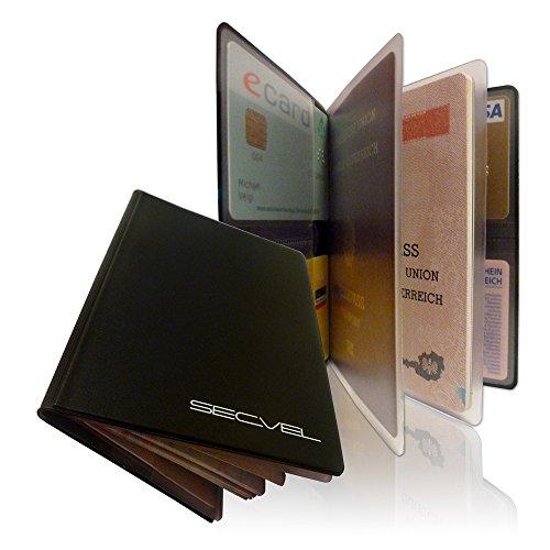 """SECVEL Porta passaporto """"Comfort"""" - protezione RFID/NFC & campi magnetici (per 1 passaporto, 4 carte, documenti o banconote) - nero"""