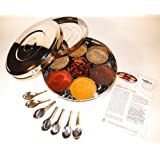 Authentic Indian Spice Box with Double Lid 24cm (Large), 7 spice spoons & FREE Spice Guide set