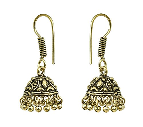Waama Jewels Golden Jhumki Earring for women girl best selling shining fashion stylish fancy party wear bollywood collection jhumka Office Wear Earrings Valentines Gift rakhi gift for sister  available at amazon for Rs.199