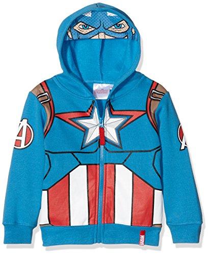 Marvel Avengers Characters Head, Felpa Bambino, Blu, 10 Anni