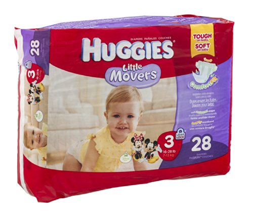 Huggies Diapers Little Movers Disney Size 3 (16-28 lb) 28 CT (Pack of 4) - 1