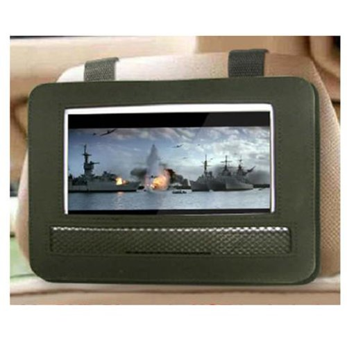 Black Car Headrest Moust Strap Holder Case For Portable Dvd Player (7 Inch)