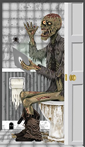 [ZOMBIE ON THE TOILET BATHROOM DOOR COVER HALLOWEEN PARTY DECORATION] (Kids Costumes Inflatable Hulk)