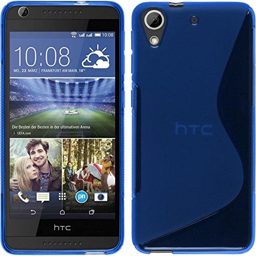 PhoneNatic HTC Desire 626 Hülle Silikon blau S-Style Case Desire 626 Tasche + 2 Schutzfolien