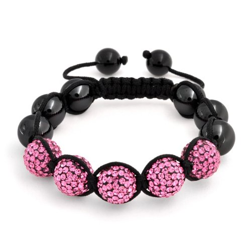 Bling Jewelry Barbie Pink Bracelet Shamballa Inspired Crystal Hematite Bead 12mm