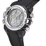 【ノーブランド】OHSEN腕時計/アナログデジタル表示/防水 タイマー アラーム ストップウォッチ バックライト機能/ カジュアル メンズ レディース ウォッチ スポーツ (シルバー)