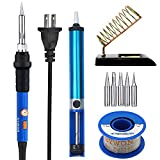 Sywon ON/OFF Switch 60W Soldering Iron Kit, Temperature Control, 50g Rosin Core Solder, Metallic Base Stand with Cleaning Sponge, Desoldering Pump and 5 Extra Tips