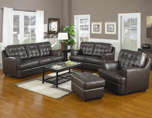 Inland Empire Furniture Michael Chocolate Bonded Leather Bonded Leather Sofa, Loveseat, Chair and Ottoman with Chair