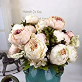 1Bouquet 8 Heads Artificial Peony Silk Flower Leaf Home Wedding Party Decor Light Pink