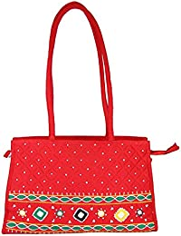 Women Cottage Red Cotton Patch Work Square Bag
