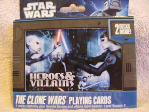 Star Wars The Clone Wars Heroes & Villians Playing Cards 2 Decks in Collector's Tin