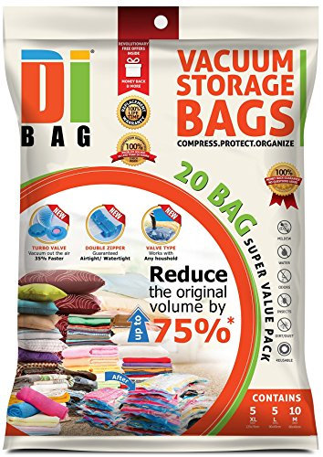 Space Saver Vacuum Storage Bags - 20 Premium Travel Space Bags - Bag Size: Jumbo Large & Medium - 2X Sealed Compression Plastic Bags For Clothing Storage , Clothes bedding & Packing - DIBAG (Vacuum Bags Space Saver compare prices)