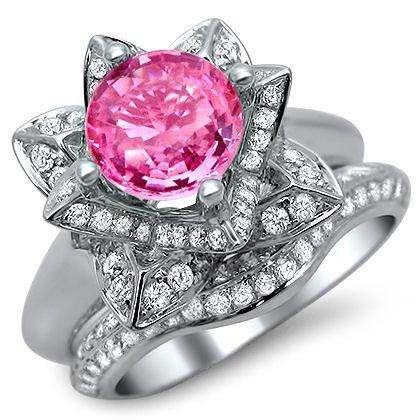 2.15ct Round Pink Sapphire Diamond Lotus Flower