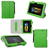 ProCase old generation Kindle Fire HD 7 Case - Tri-Fold Folio Stand Cover for Amazon Kindle Fire HD 7 Inch Tablet (2012 version) auto sleep /wake feature, hand strap (Green) ~ ProCase