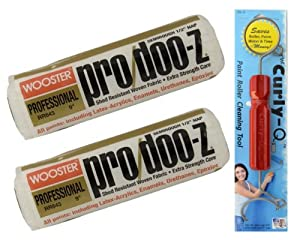 Professional Paint Roller 3 pc Set - Two Wooster RR643-9 Pro Doo-Z ½-Inch Nap Roller Covers and The Curly-Q Paint Roller Cleaner Tool