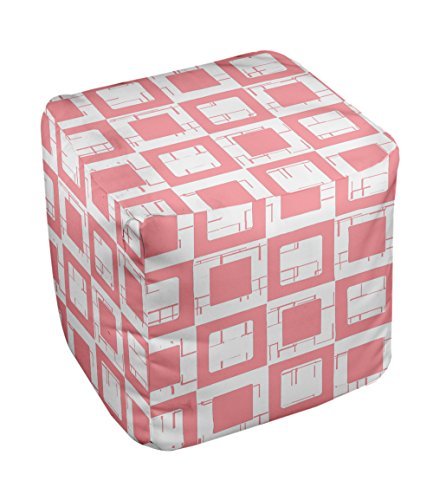 E by design FG-N2-Pink-13 Geometric Pouf - 1
