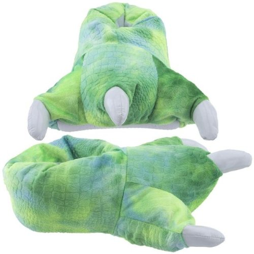 Costume & Cosplay : 5-9.5 Animal Dinosaur Godzilla Paw Claws Monster Feet Soft Plush Stuffed Warm Winter Home Slippers Pajamas Party Shoes for Unisex Adult Mens Womens (Green)