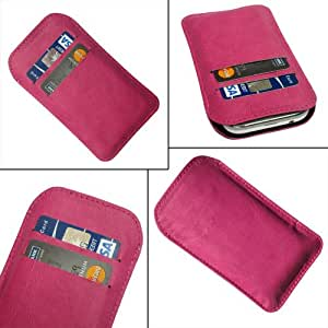 i-KitPit Quality PU Leather Pouch Case Cover For Karbonn S5+ Titanium (PINK)
